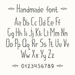 Simple romantic hand drawn font with hearts. Complete abc