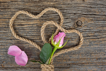 pink rose bud with rope hearts on rustic wood