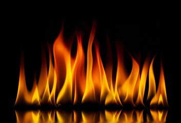 Staande foto Vlam Fire flames on a black background
