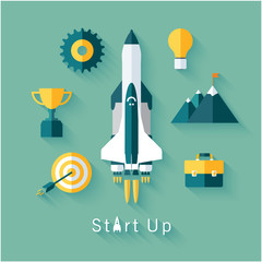 Concept of new business project startup