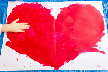 Red Heart Symbol - Hand Made with Child Hand