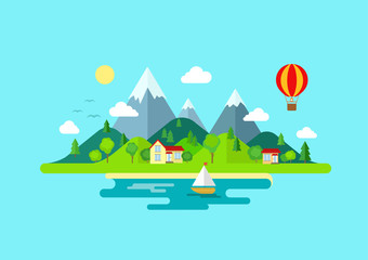 Zelfklevend Fotobehang Turkoois Travel mountains island landscape and sailing color flat concept
