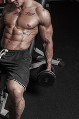 Hot bodybuilder is bulding up his biceps