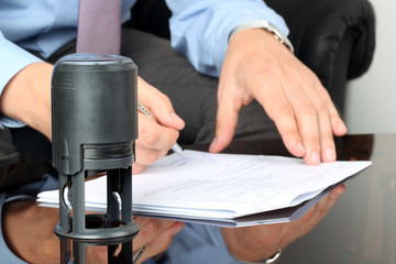 Businessman working with Documents in the office . Closeup view