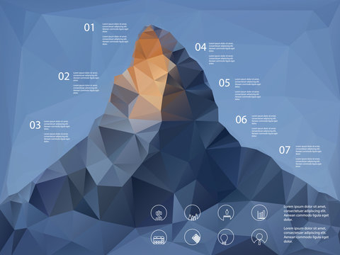 Low polygonal shape mountain background. Line icons for business