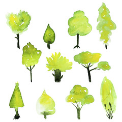 Eco set of watercolor green trees.