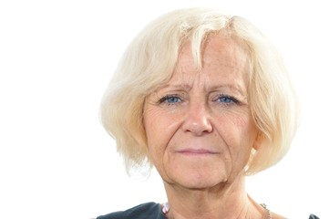 Mature blonde woman on white background.