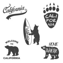Vintage California badges and design elements for Tshirt print.