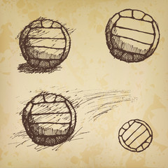 volleyball ball sketch set on old paper
