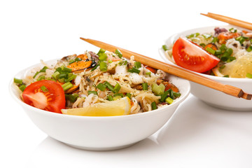 Noodles with seafood