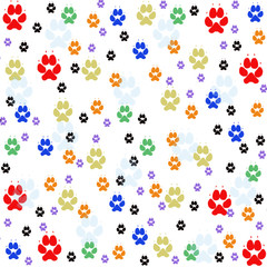 Colorful pawprints on white seamless pattern