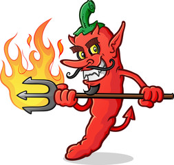 Hot Chili Pepper Devil Cartoon Character Stab