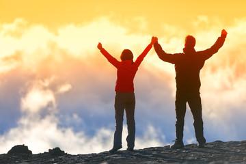 Happy winners reaching life goal - success people