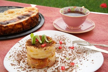A piece of  cheese cake with pears