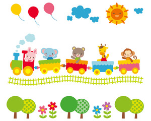 子供向け素材 汽車に乗る動物たち