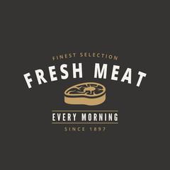 Grill BBQ Steak Retro Vintage Label Logo design vector