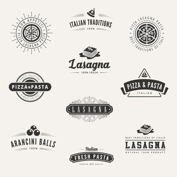 Italian cuisine Retro Vintage Labels Logo design vector