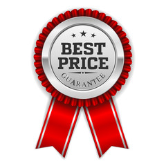 Silver best price badge with red ribbon on white background