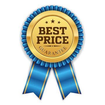 Gold best price badge with blue ribbon on white background