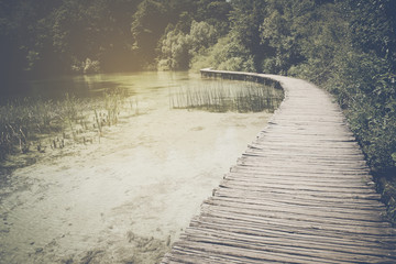 Wooden Trail in Forest in Retro Instagram Style Filter