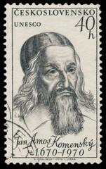 Stamp printed in Czechoslovakia shows portrait Jan Amos Komenski