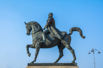 Equestrian statue representing the king Carol in Bucharest