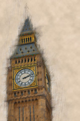Fotomurales - Artistic paint effect view of Big Ben, London
