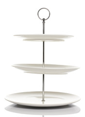 White dish serving stand 3 tiers  in White background