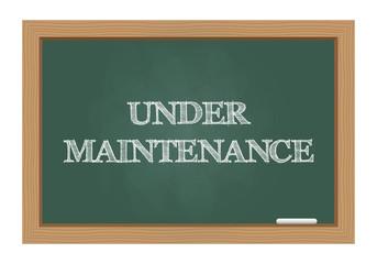 Under maintenance message on chalkboard