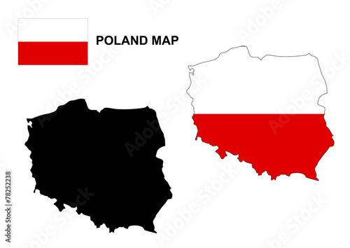 Poland map vector, Poland flag vector\