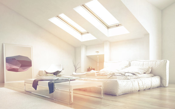 Bedroom with Table Illuminated with Sunlight