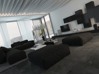 Elegant Furniture in an Architectural Living Room