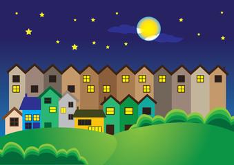 Town Night Scene Vector Cartoon Illustration