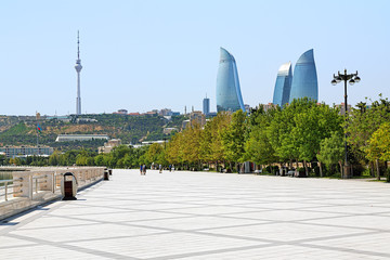 Flame Towers skyscrapers, TV tower and embankment in Baku