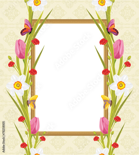 Spring Flowers And Butterflies In The Decorative Frame Stock Image