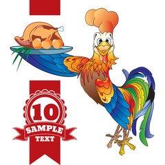 Cartoon cheerful rooster with grilled chicken