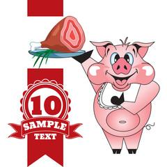 Cartoon cheerful pig with ham