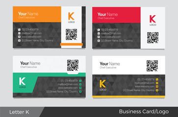 Letter K logo corporate business card