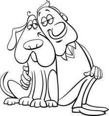 dog with owner coloring page