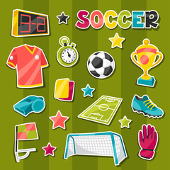 Set of sports soccer sticker symbols and icons.