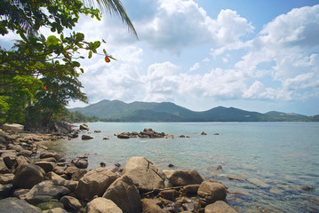 Phangan island wild beach view