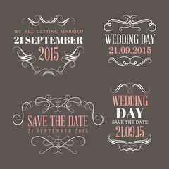 Wedding set of label, badges, stamp