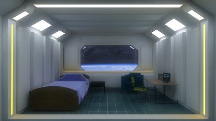 Futuristic room and earth