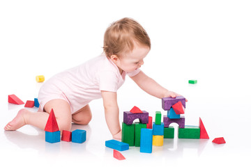 Beautiful baby building with cubes