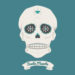 Illustration of a mexican skull, sugar skull