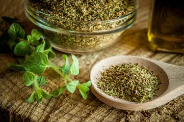 Canvas Prints Spices oregano spices and olive oil from greece