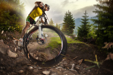 Sport. Mountain Bike cyclist riding single track Wall mural