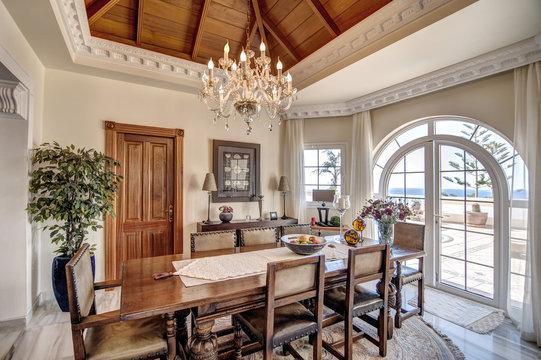 Dining room with big window