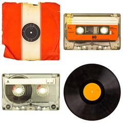 Set of retro compact cassettes and vinyl albums