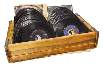 Retro styled image of a wooden box with vinyl lp records